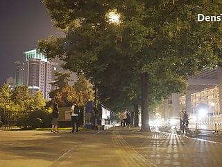 China Women Walk Nude Street City Public Night Exhibitionist