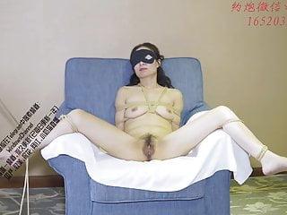 Chinese BDSM, mature wife gets bondage orgasm and cum inside