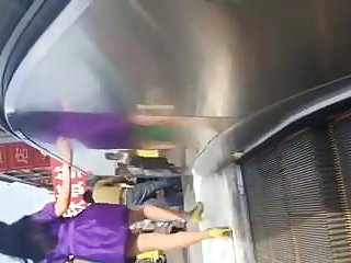 Cum on women in escalator