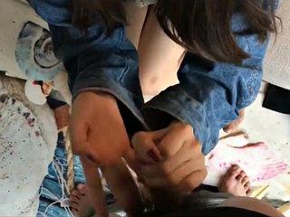 Teen girl chinese stocking footjob