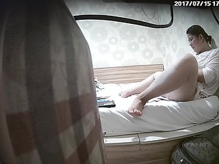 Chinese fat cute girl masturbates twice, real hacked ip cam