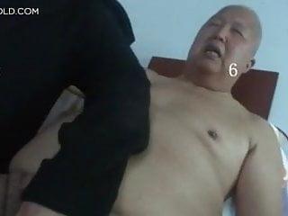 Touch fat grandpa's cock