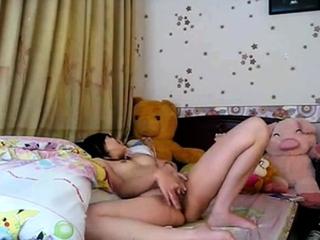 Chinese-Korean girl masturbating alone