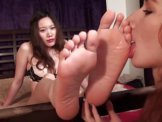 Asian Babe gets her soles worshipped